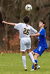 WOODBURY, CT-111120JS18 —Nonnewaug's Zach Thompson (2) look to gain control of the ball in front of a Wolcott Tech defender during their game Wednesday at Nonnewaug High School. <br /> Jim Shannon Republican-American