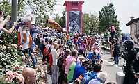 riders rolling out for the stage start in the tiny birth town of Fausto Coppi: Castellania<br /> <br /> 100th Giro d'Italia 2017<br /> Stage 14: Castellania › Oropa (131km)