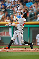 Garrett Stubbs (2) of the Fresno Grizzlies bats against the Salt Lake Bees at Smith's Ballpark on September 3, 2017 in Salt Lake City, Utah. The Bees defeated the Grizzlies 10-8. (Stephen Smith/Four Seam Images)