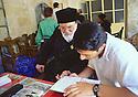 Turkey 1997 .A lesson of Syriac in the monastery of Deir Zafaran.Turquie 1997.Lecon de Syriaque au monastere de Dar Zafaran, dans la region de Tour Abdin