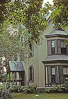 """Hartford: The Stowe House. """"...a fine example of a 19th century 'cottage' with a suggestion of the Romantic Villas  made popular by A. J. Downing and Calvert Vaux"""". Photo '91."""