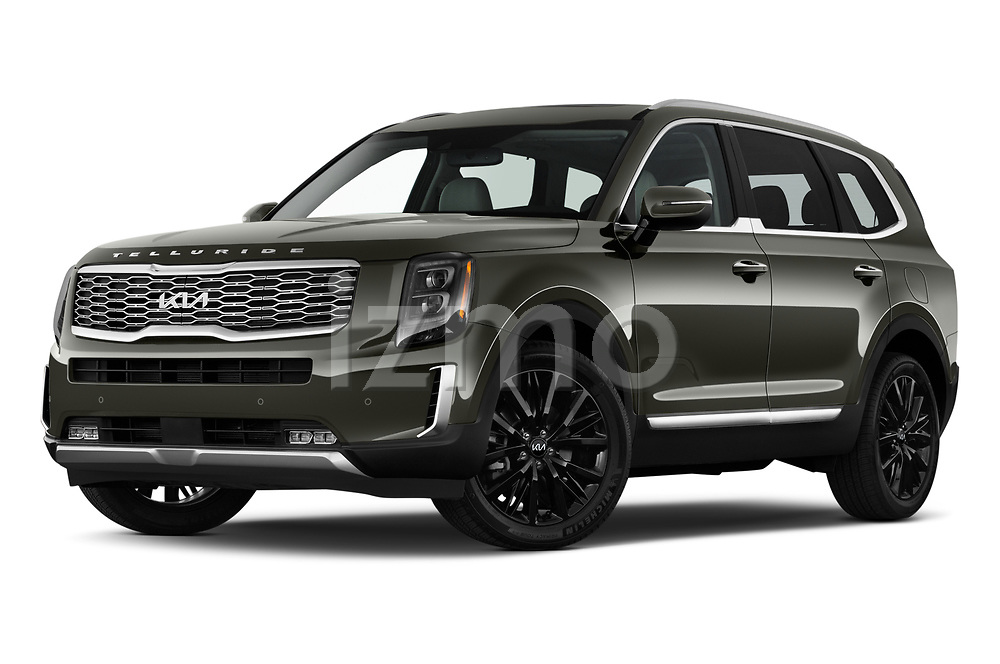Stock pictures of low aggressive front three quarter view of 2022 KIA Telluride SX-AWD 5 Door suv Low Aggressive