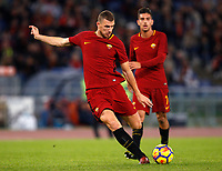Roma's Edin Dzeko kicks the ball during the Serie A football match between Roma and Bologna at Rome's Olympic stadium, October 28, 2017.<br /> UPDATE IMAGES PRESS/Riccardo De Luca