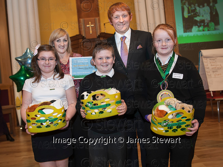 """Litter Strategy Awards 2013 : Councillor Craig R Martin presents the """"Green Dog Walkers Thinking Cap"""" award to Link Housing Association and Carmuirs Primary School."""
