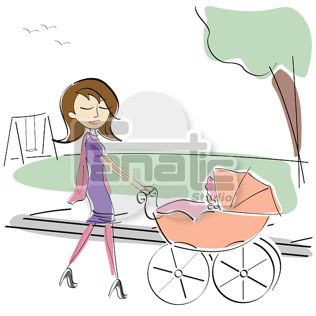 Woman pushing her baby on a carriage in a park