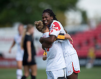 Hayley Brock (27) of Maryland celebrates her goal with teammate Riley Barger (10) during the game at Ludwig Field in College Park, MD.  Maryland defeated Wake Forest, 1-0.