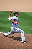 Pawtucket Red Sox pitcher Edwin Escobar (22) delivers a pitch during a game against the Syracuse Chiefs on July 6, 2015 at NBT Bank Stadium in Syracuse, New York.  Syracuse defeated Pawtucket 3-2.  (Mike Janes/Four Seam Images)