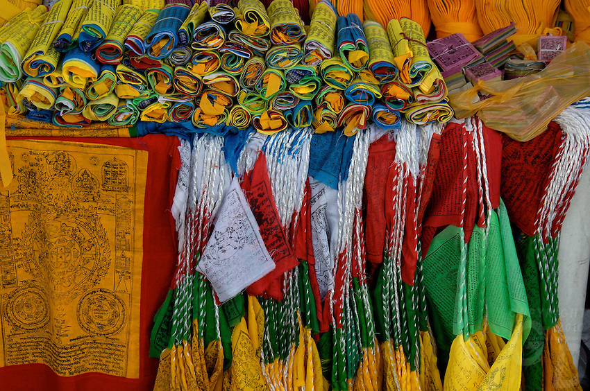 The four colors in Buddhism, Prayer flags for sale Barkhor street, central area near Jokhang temple, Lhasa
