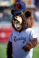Reading Fightin Phils mascot Bucky the Beaver before a game against the New Hampshire Fisher Cats on June 6, 2016 at FirstEnergy Stadium in Reading, Pennsylvania.  Reading defeated New Hampshire 2-1.  (Mike Janes/Four Seam Images)