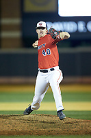 Liberty Flames relief pitcher Brady Stamper (40) in action against the Wake Forest Demon Deacons at David F. Couch Ballpark on April 25, 2018 in  Winston-Salem, North Carolina.  The Demon Deacons defeated the Flames 8-7.  (Brian Westerholt/Four Seam Images)
