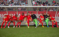 CARSON, CA - FEBRUARY 9: Adriana Leon #19, Deanne Rose #6, Julia Grosso #7, GK Sabrina D'Angelo #20, Allysha Chapman #2, Kailen Sheridan #18, Jordyn Huitema #9 of Canada bench at the start during a game between Canada and USWNT at Dignity Health Sports Park on February 9, 2020 in Carson, California.