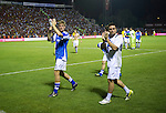 St Johnstone v Eskisehirspor....18.07.12  Uefa Cup Qualifyer.Sean Higgins and Jamie Sdams applaud the fans.Picture by Graeme Hart..Copyright Perthshire Picture Agency.Tel: 01738 623350  Mobile: 07990 594431