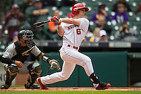 Nebraska Cornhuskers second baseman Jake Schleppenbach (6) follows through on his swing during the NCAA baseball game against the Hawaii Rainbow Warriors on March 7, 2015 at the Houston College Classic held at Minute Maid Park in Houston, Texas. Nebraska defeated Hawaii 4-3. (Andrew Woolley/Four Seam Images)