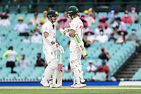 7th January 2021; Sydney Cricket Ground, Sydney, New South Wales, Australia; International Test Cricket, Third Test Day One, Australia versus India; openers David Warner of Australia and Will Pucovski of Australia before the opening ball of the day