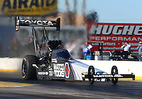 Feb 3, 2016; Chandler, AZ, USA; NHRA top fuel driver Antron Brown during pre season testing at Wild Horse Pass Motorsports Park. Mandatory Credit: Mark J. Rebilas-USA TODAY Sports