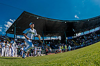 20 June 2021: Vermont Lake Monsters infielder Noah Granet, from Scranton, PA, takes the field to face the Westfield Starfires at Centennial Field in Burlington, Vermont. The Lake Monsters fell to the Starfires 10-2 at Centennial Field, in Burlington, Vermont. Mandatory Credit: Ed Wolfstein Photo *** RAW (NEF) Image File Available ***