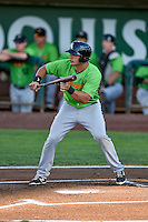 Aaron Schnurbusch (21) of the Great Falls Voyagers squares to bunt against the Ogden Raptors in Pioneer League action at Lindquist Field on August 16, 2016 in Ogden, Utah. Ogden defeated Great Falls 2-1. (Stephen Smith/Four Seam Images)