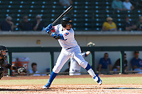 Mesa Solar Sox catcher Jhonny Pereda (6), of the Chicago Cubs organization, at bat during an Arizona Fall League game against the Salt River Rafters at Sloan Park on October 30, 2018 in Mesa, Arizona. Salt River defeated Mesa 14-4 . (Zachary Lucy/Four Seam Images)