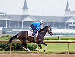 April 25, 2021: Will's Secret, trained by trainer Dallas Stewart, exercises in preparation for the Kentucky Oaks at Churchill Downs on April 25, 2021 in Louisville, Kentucky. Scott Serio/Eclipse Sportswire/CSM