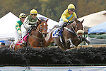 17 October 2009:  Four Schools (IRE), right, Robert Walsh up, and Cradle Will Rock (left), Danielle Hodson up, early in race 3, the Appleton Hurdle Stakes at Far Hills Race Meeting, Far Hills, New Jersey.