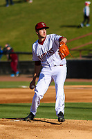 Wisconsin Timber Rattlers pitcher Adam Hill (15) delivers a pitch during a Midwest League game against the Burlington Bees on April 26, 2019 at Fox Cities Stadium in Appleton, Wisconsin. Wisconsin defeated Burlington 2-0. (Brad Krause/Four Seam Images)