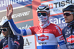 Dutch Champion Mathieu Van Der Poel (NED) and Alpecin Fenix at sign on before the start of the 112th edition of Milan-San Remo 2021, running 299km from Milan to San Remo, Italy. 20th March 2021. <br /> Photo: LaPresse/Gian Mattia D'Alberto   Cyclefile<br /> <br /> All photos usage must carry mandatory copyright credit (© Cyclefile   LaPresse/Gian Mattia D'Alberto)