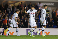 Son Heung-Min of Tottenham Hotspur celebrates scoring his second goal during the UEFA Europa League match between Tottenham Hotspur and Qarabag FK at White Hart Lane, London, England on 17 September 2015. Photo by Andy Rowland.