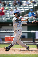 Lake County Captains designated hitter Miguel Jerez (36) follows through on his swing against the South Bend Cubs on May 30, 2019 at Four Winds Field in South Bend, Indiana. The Captains defeated the Cubs 5-1.  (Andrew Woolley/Four Seam Images)