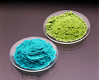 CUPRIC CHLORIDE (blue) & CUPROUS CHLORIDE (green)<br /> Copper Forms 2 Compounds With Chlorine<br /> Copper I Chloride, CuCl (Cuprous -green) & Copper II Chloride, CuCl2 (Cupric -blue). Cuprous chloride is a white crystal that converts to a green oxygenated compound.