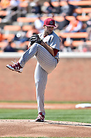 South Carolina Gamecocks starting pitcher Wil Crowe (37) delivers a pitch during a game against the Tennessee Volunteers at Lindsey Nelson Stadium on March 18, 2017 in Knoxville, Tennessee. The Gamecocks defeated Volunteers 6-5. (Tony Farlow/Four Seam Images)