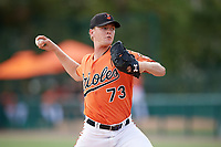 Baltimore Orioles pitcher Scott Burke (73) delivers a pitch during an Instructional League game against the Tampa Bay Rays on October 2, 2017 at Ed Smith Stadium in Sarasota, Florida.  (Mike Janes/Four Seam Images)