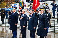 (From left to right) President Donald J. Trump; Vice President Michael R. Pence; Secretary of Veterans Affairs Robert Wilkie; and U.S. Army Maj. Gen. Omar Jones IV, commanding general, U.S. Army Military District of Washington render honors during a Presidential Armed Forces Full Honor Wreath-Laying Ceremony at the Tomb of the Unknown Soldier; Arlington National Cemetery, Arlington, Virginia, November 11, 2020. The wreath was laid by President Trump as part of the nation's 67th Veterans Day Observance. (U.S. Army photo by Elizabeth Fraser / Arlington National Cemetery / released)