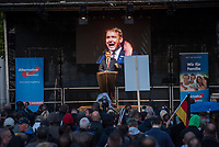 """AfD-Wahlkampfkundgebung in Magdeburg.<br /> Ca. 350 Menschen kamen zu einer Wahlkampfkundgebung der rechtsnationalistischen Alternative fuer Deutschland (AfD). Waehrend der Reden von Alexander Gauland, Bjoern Hoecke und lokalen AfDlern skandierten sie Parolen wie """"Volksverraeter"""" und """"Wir sind das Volk"""" gegen """"Die da oben"""".<br /> Im Bild: Andre Poggenburg, Landesvorsitzender AfD Sachsen-Anhalt.<br /> 13.9.2017, Magdeburg<br /> Copyright: Christian-Ditsch.de<br /> [Inhaltsveraendernde Manipulation des Fotos nur nach ausdruecklicher Genehmigung des Fotografen. Vereinbarungen ueber Abtretung von Persoenlichkeitsrechten/Model Release der abgebildeten Person/Personen liegen nicht vor. NO MODEL RELEASE! Nur fuer Redaktionelle Zwecke. Don't publish without copyright Christian-Ditsch.de, Veroeffentlichung nur mit Fotografennennung, sowie gegen Honorar, MwSt. und Beleg. Konto: I N G - D i B a, IBAN DE58500105175400192269, BIC INGDDEFFXXX, Kontakt: post@christian-ditsch.de<br /> Bei der Bearbeitung der Dateiinformationen darf die Urheberkennzeichnung in den EXIF- und  IPTC-Daten nicht entfernt werden, diese sind in digitalen Medien nach §95c UrhG rechtlich geschuetzt. Der Urhebervermerk wird gemaess §13 UrhG verlangt.]"""