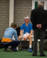 Rotterdam, The Netherlands, 07.03.2014. NOJK ,National Indoor Juniors Championships of 2014, Aloys van Baal (NED) Niels Jaap van Dam (NED)<br /> Photo:Tennisimages/Henk Koster