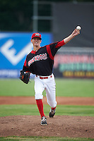 Batavia Muckdogs pitcher Scott Squier (31) delivers a pitch during a game against the Mahoning Valley Scrappers on June 22, 2015 at Dwyer Stadium in Batavia, New York.  Mahoning Valley defeated Batavia 15-11.  (Mike Janes/Four Seam Images)