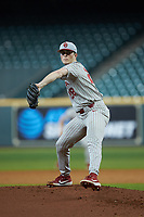 Oklahoma Sooners starting pitcher Dane Acker (28) in action against the LSU Tigers in game seven of the 2020 Shriners Hospitals for Children College Classic at Minute Maid Park on March 1, 2020 in Houston, Texas. The Sooners defeated the Tigers 1-0. (Brian Westerholt/Four Seam Images)