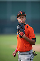Justin Otero (59), from Bronx, New York, while playing for the Orioles during the Baseball Factory Pirate City Christmas Camp & Tournament on December 28, 2017 at Pirate City in Bradenton, Florida.  (Mike Janes/Four Seam Images)
