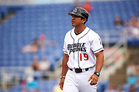 Binghamton Rumble Ponies manager Luis Rojas (19) during a game against the Hartford Yard Goats on July 9, 2017 at NYSEG Stadium in Binghamton, New York.  Hartford defeated Binghamton 7-3.  (Mike Janes/Four Seam Images)