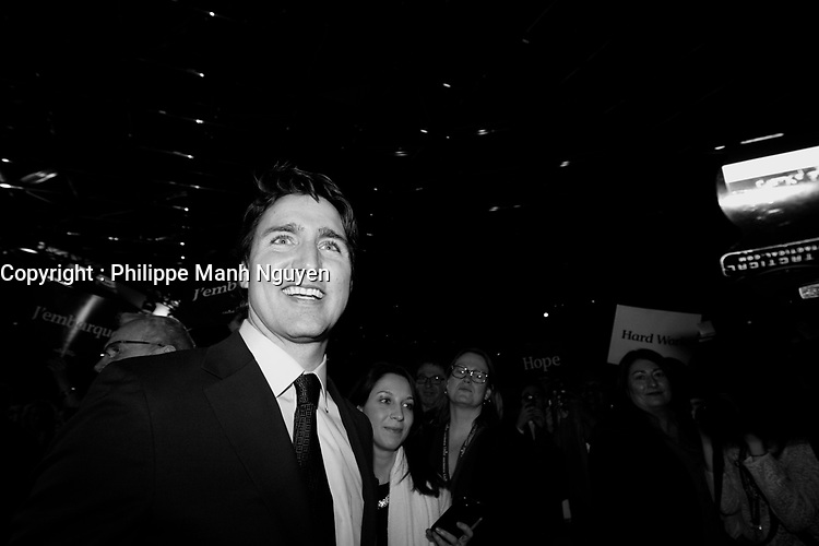 April 20 , 2014 - The Leader of the Liberal Party of Canada, Justin Trudeau, deliver a speech to delegates at the opening of the Liberal Biennial Convention in Montreal.<br /> <br /> Le chef du Parti liberal du Canada, Justin Trudeau, s'adresse aux delegue(e)s pour ouvrir le Congres biennal liberal à Montreal,  Jeudi 20 février 2014.<br /> <br /> Photo : Philippe Nguyen- Images Distribution