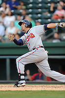 First baseman Edison Sanchez (2) of the Rome Braves bats in a game against the Greenville Drive on Tuesday, August 20, 2013, at Fluor Field at the West End in Greenville, South Carolina. Rome won, 4-2. (Tom Priddy/Four Seam Images)