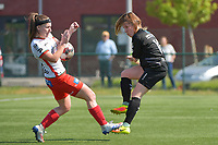 Liesa Capiau (15) of Zulte Waregem and Taika De Koker (16) of Woluwe  pictured during a female soccer game between SV Zulte - Waregem and White Star Woluwe on the 10 th and last matchday in play off 2 of the 2020 - 2021 season of Belgian Scooore Womens Super League , saturday 29 of May 2021  in Zulte , Belgium . PHOTO SPORTPIX.BE | SPP | DIRK VUYLSTEKE