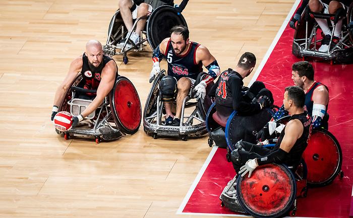 Zak Madell, Tokyo 2020 - Wheelchair Rugby // Rugby en fauteuil roulant.<br /> Canada takes on The USA in the preliminary round // Le Canada affronte Les Etats-Unis d'Amérique au tour préliminaire. 26/08/2021.