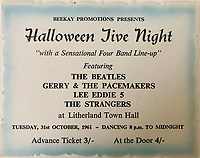BNPS.co.uk (01202 558833)<br /> Pic: OmegaAuctions/BNPS<br /> <br /> Also in the auction - a 1961 flyer from the Halloween Jive Night at Litherland Town Hall.<br /> <br /> From Me To You - Fascinating business cards chart the earliest days of the Fab Four.<br /> <br /> Meet The Beatles - Three business cards that chart the evolution of the Beatles from fledgling teenagers have emerged for sale for £6,000.<br /> <br /> The first card dates to 1957 when John Lennon, Paul McCartney and George Harrison were in a band called The Quarry Men along with Lennon's best mate Pete Shotton.<br /> <br /> They started off as a Country, Western, Rock 'n' Roll and Skiffle act and had the cards professionally made while they looked for gigs in their native Liverpool.<br /> <br /> By the time The Quarry Men had their second set of business cards printed in 1958 they had dropped the Country  Western element to their act.<br /> <br /> And a third card printed in 1960 shows how the band had changed their name The Beatles and had a new manager, Alun Williams.