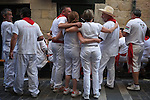 Participants is seen during the San Fermin Festival, on July 8, 2013, in Pamplona, northern Spain . (c) Pedro ARMESTRE