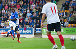 St Johnstone v FC Minsk...08.08.13 Europa League Qualifier<br /> Nigel Hasselbaink fires his shot wide<br /> Picture by Graeme Hart.<br /> Copyright Perthshire Picture Agency<br /> Tel: 01738 623350  Mobile: 07990 594431