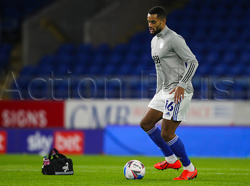 3rd November 2020; Cardiff City Stadium, Cardiff, Glamorgan, Wales; English Football League Championship Football, Cardiff City versus Barnsley; Curtis Nelson of Cardiff City warms up before the match
