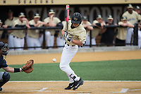 Stuart Fairchild (4) of the Wake Forest Demon Deacons is hit by a pitch during the game against the Georgia Tech Yellow Jackets at David F. Couch Ballpark on March 26, 2017 in  Winston-Salem, North Carolina.  The Demon Deacons defeated the Yellow Jackets 8-4.  (Brian Westerholt/Four Seam Images)