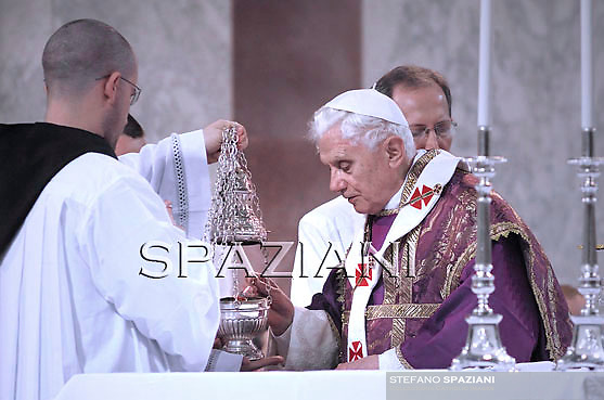 Pope Benedict XVI being anointed with ashes during the traditional Ash Wednesday mass in the St. Sabina church in Rome 09 March, 2011.