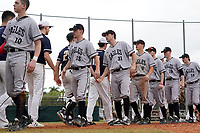 Edgewood Eagles shake hands with Bethel Wildcats after the second game of a double header on March 15, 2019 at Terry Park in Fort Myers, Florida.  Bethel defeated Edgewood 3-2.  Shown are Will Mossa (18), Richie Coughlin (31), Ryan Fields (9), Ryan Cassady (5), Eric Nelson (19), Ryan Gale (14).  (Mike Janes/Four Seam Images)
