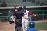 Stockton Ports second baseman Nick Allen (2) argues with home plate umpire Chris Presley-Murphy during a California League game against the San Jose Giants on April 9, 2019 in Stockton, California. San Jose defeated Stockton 4-3. (Zachary Lucy/Four Seam Images)